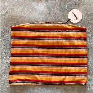 Multi colored strapless top